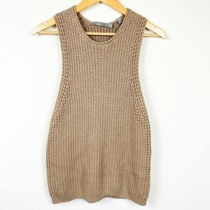 VINCE Brown Knit Sleeveless Tank sweater vest top